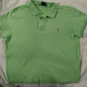 Polo collared light green T-Shirt
